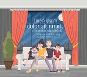 Família feliz dos desenhos animados no sofá Fotos de Stock