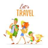 Família feliz dos desenhos animados que vai em férias de verão Fotografia de Stock