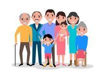 Família feliz dos desenhos animados Retrato bonito grande da família Fotografia de Stock