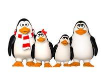 Família feliz dos pinguins Fotos de Stock Royalty Free
