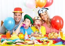 Família feliz e aniversário Imagem de Stock