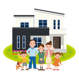 Família feliz e minha casa ilustração stock