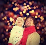 Família feliz e um milagre do Natal Imagem de Stock Royalty Free