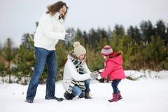 Família feliz em um dia de inverno fotografia de stock