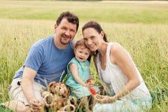 Família feliz exterior em um prado do verão imagens de stock