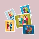 A família feliz fixou os vetores lisos dos retratos ajustados ilustração royalty free