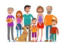Família feliz grande Conceito do grupo de pessoas, dos pais e das crianças Ilustração do vetor dos desenhos animados Fotos de Stock Royalty Free