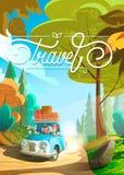 Família feliz grande que viaja pelo carro Tema do turismo e das férias Ilustração lisa do projeto dos desenhos animados ilustração stock