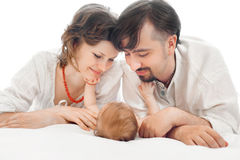 Família feliz, mãe, bebê pequeno do aand do pai Foto de Stock