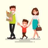 Família feliz A mamã e o filho do paizinho estão indo em casa Vetor Illustratio Imagens de Stock