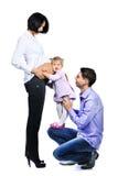 Família feliz - mulher gravida com seus bebê e husb pequenos Fotos de Stock
