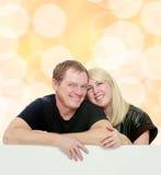 Família feliz na bandeira branca Imagens de Stock