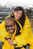 Família feliz na estância de esqui Fotografia de Stock