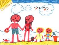 Família feliz na praia feliz! Fotografia de Stock Royalty Free