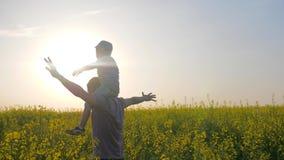 A família feliz no campo do fundo, o paizinho com o filho que joga, o paizinho e o filho jogam no parque fora no dia de verão video estoque