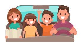 Família feliz no carro Curso alegre Ilustração do vetor Fotografia de Stock Royalty Free