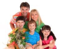 Família feliz no dia de matrizes imagem de stock royalty free