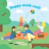 Família feliz no fim de semana Piquenique da família Piquenique do partido, alimento, verão Ilustração do vetor Imagem de Stock