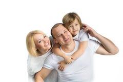 Família feliz no fundo branco Imagem de Stock