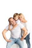 Família feliz no fundo branco Fotos de Stock