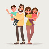Família feliz no fundo isolado Crianças da posse dos pais no th Imagem de Stock