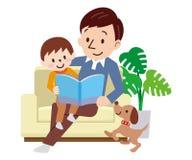 A família feliz no sofá leu o livro junto ilustração stock