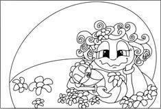 Família feliz - noites do ` s da mãe Mulher com bebê, ícone liso do estilo, desenhos animados dos povos Foto de Stock