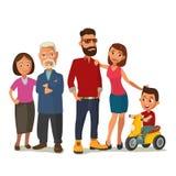 Família feliz Pais, avós e criança em um triciclo ilustração royalty free