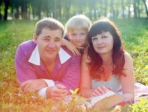 Família feliz que encontra-se na grama imagem de stock