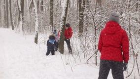 Família feliz que joga bolas de neve nas madeiras nevado video estoque