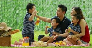 Família feliz que joga bolhas de sabão junto vídeos de arquivo