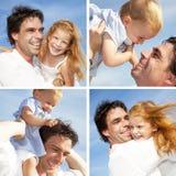Família feliz que monta Fotos de Stock Royalty Free