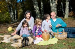 Família feliz que tem o piquenique Foto de Stock Royalty Free