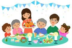 Família feliz que tem um jantar de Natal ilustração royalty free