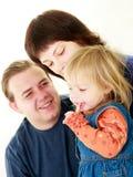 Família feliz sobre o branco foto de stock royalty free