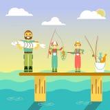 A família feliz vai pescar Ilustração do vetor no projeto liso do estilo Caráteres dos povos dos desenhos animados que pescam no  Foto de Stock