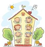 A família grande é em casa ilustração stock