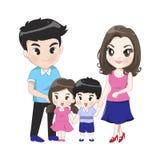 A família grande tem a filha do filho dos pais ilustração do vetor