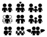 Família/grupo silhueta das relações Foto de Stock