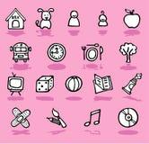 Família, HOME, ícones dos miúdos ajustados Foto de Stock
