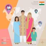 Família indiana no vestido nacional, ilustração do vetor Imagens de Stock Royalty Free