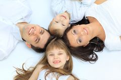Família isolada no branco fotos de stock