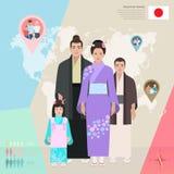 Família japonesa no vestido nacional, ilustração do vetor Imagens de Stock Royalty Free