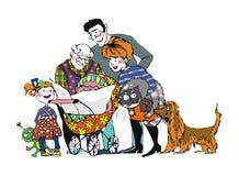 A família lê um jornal ilustração royalty free