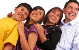 Família latin bonita sobre o branco foto de stock royalty free