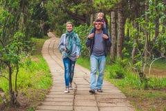 Família, mãe, pai e filho, andando o trajeto do parque imagens de stock