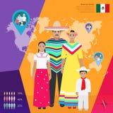 Família mexicana no vestido nacional, ilustração do vetor Imagens de Stock Royalty Free