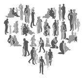 A família mostra em silhueta o coração ilustração royalty free