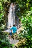 Família na cachoeira fotos de stock