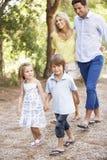 Família na caminhada do país junto fotos de stock